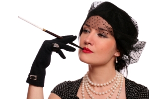 portrait of a woman with a cigarette holder.